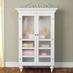 Classic Armoire in White..love the opaque doors
