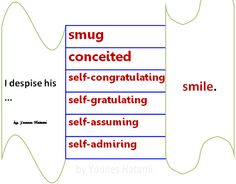 smug, conceited, self-congratulating, self-gratulating, self-assuming, self-admiring smile
