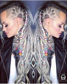 Wicked dreadlocks with hair carving. Model: Brandi Zito hotonbeauty.com