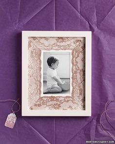 Lace Picture Frame Mat    A photograph surrounded by a lace-printed mat makes a charming handmade gift.