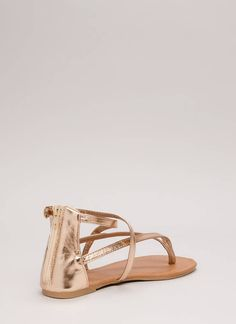 1b8d5fe817d070 Are You Strappy Now Metallic Sandals ROSEGOLD