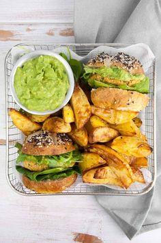 Vegan Falafel Burger and homemade fries