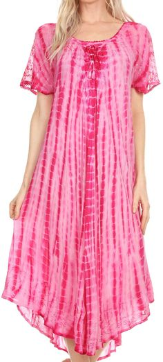 Sakkas Yasmin Tie Dye Embroidered Sheer Cap Sleeve Sundress | Cover Up