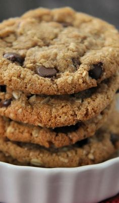 Whole Wheat Coconut Oil Chocolate Chip Oatmeal Cookie