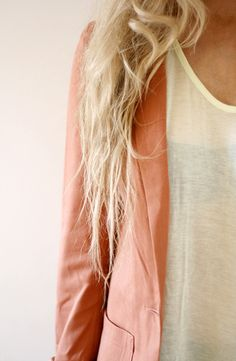 peachy blazer + white tee. Get discounts on cute dresses from Urban Outfitters, LuLus, ASOS and more: http://www.studentrate.com/fashion/fashion.aspx
