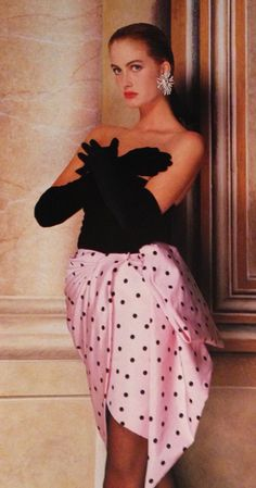 Givenchy Haute Couture- A/W 1987-88 Strapless short dress with a black velvet top and pink & black polka dot silk satin skirt. L'Officiel No. 734- September 1987