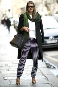Who: Alessandra Ambrosio What: Striped Trousers Why: The Brazilian beauty is elegant yet interesting in silk striped pants, statement shoes and a menswear inspired overcoat. Get the look now: Sea pants, $370, barneys.com.   - HarpersBAZAAR.com