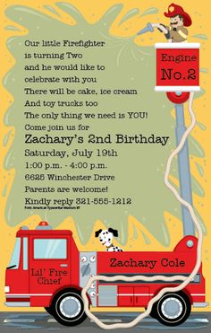 Fire Truck Party Invitations by Paper So Pretty - Invitation Box