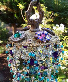 jeweled wind chimes | Jeweled Bohemian Antique Crystal Wind Chime | Sheris Crystal Designs Crystal Wind Chimes, Bottle Trees, Garden Whimsy, Crystal Design, Color Themes, Suncatchers, Mosaics, Peacock, Balls