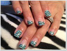 Natural Zebra Print Nails Design With Light Blue