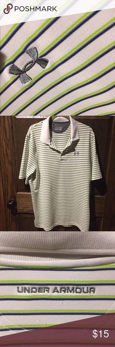 Mens UA polo shirt. Well loved polo shirt.  There are some areas with small snags, as shown in the pictures.  Could probably take care of most of them with a fabric shaver??    **bundle with some of the other items in my closet for a discount!!**  💸💸💸 Under Armour Shirts Polos