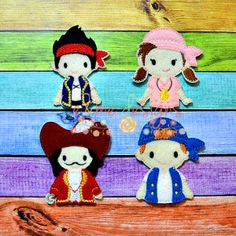 Pirate Friends Finger Puppets sold separately or buy the whole set. These items and many more are available for purchase from https://www.etsy.com/shop/SchoolhouseBoutique