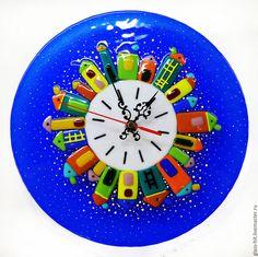 """Купить Часы """" Городок"""" . Стекло. Фьюзинг. - синий, стекло, Фьюзинг, часы, часы настенные"""