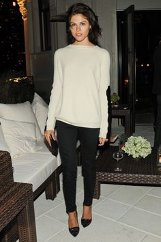 Winter white sweater, black pencil pants & pumps. Weekend comfort.