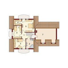 DOM.PL™ - Projekt domu DA Gracjan 2 CE - DOM DS2-11 - gotowy koszt budowy 2bhk House Plan, Loft Room, Spacious Living Room, Ground Floor, Concrete, Floor Plans, House Design, Flooring, Spaces