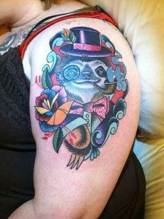Fancy sloth? Oh hell yes. | 28 Sloth Tattoos That Prove How Eternally Amazing Sloths Are