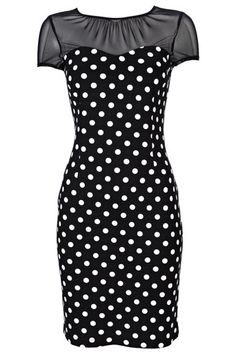 """This dress is lovely!Typical bodycon so thicker than normal to enable it to hold you in. I will wear it a lot. Looks really good and the black and white polka dots make it look smart""."