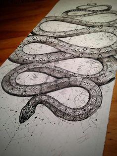 Geometric half sleeve snake tattoo..