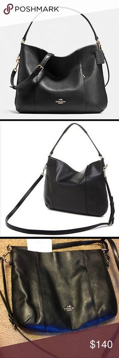 """Coach Isabelle East/West Shoulder/Crossbody Purse Black Pebble Leather. Inside zip, cell phone & multifunctional pockets. Zip top closure. Fabric lining. Handle w/ 11 3/4"""" drop. Longer strap w/ 22"""" drop for Crossbody. 12 1/2"""" (L) 10"""" (H) 4""""(W). This is basically brand new. I purchased and used 1 day then ended up buying my Louis. This beautiful bag had been waiting in my closet dying to be shown off! No marks or any signs of use. Looks and feels brand new! Coach Bags Crossbody Bags"""