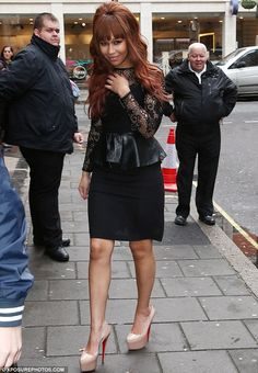 Rebecca Ferguson looks chic in leather and lace as she flaunts her curves in a form-fitting peplum dress | Mail Online
