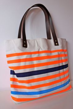 Neon and Neutral Canvas Tote Bag with Leather Handle in---tangerine-navy-turquoise-#Repin By:Pinterest++ for iPad#
