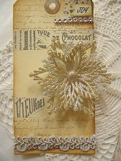 embellished tag with lace and glitter - white, silver, and gold