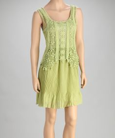 Take a look at the Green Ruffle Sleeveless Dress on #zulily today!