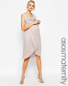 ASOS Maternity Drape Pencil Dress In Foil