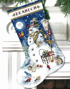 Snowman & Friends Stocking - Cross Stitch Kit... Because @Kate Benedict might make me a stocking and I like this one very much.