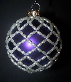 Beaded ornament covers - OCCASIONS AND HOLIDAYS - my very first beaded ornament. Purple Christmas Ornaments, Beaded Christmas Decorations, Glitter Ornaments, Christmas Ornaments To Make, Beaded Ornaments, Handmade Ornaments, Homemade Christmas, Christmas Crafts, Snowman Ornaments