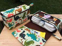 New and larger dinosaurs diaper bag organizer, diaper clutch with clear zipper pouch, baby boy gift for new parents, brown diaper purse