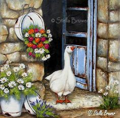 Art by Stella white enamel tub hanging with red and white flowers white enamel  basin with lavender white enamel bucket with daisies duck in doorway with shabby blue door