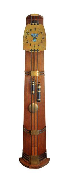 Gustave Serrurier-Bovy (1858-1910) Longcase Art Nouveau Clock. Oak, Brass, Patinated Iron and Loetz Glass. ca. 1905.