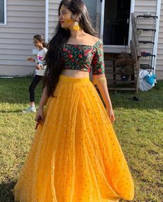Designer lehenga choli - Image may contain one or more people, people standing and outdoor Lehenga Gown, Party Wear Lehenga, Indian Lehenga, Anarkali, Indian Designer Outfits, Indian Outfits, Designer Dresses, Half Saree Designs, Lehenga Designs