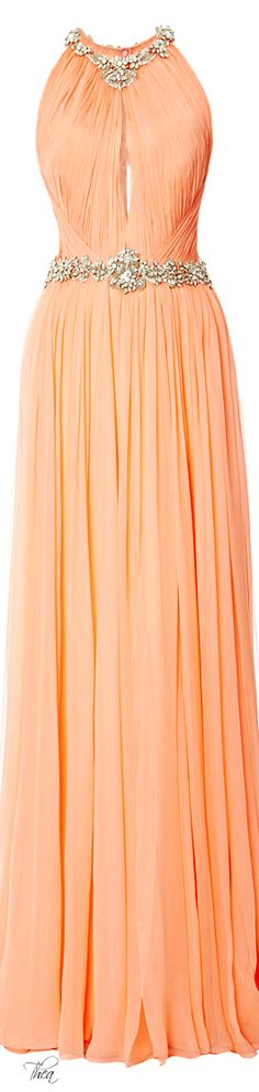 Marchesa ● Resort 2015, Sorbet Sleeveless Pleated Chiffon Gown