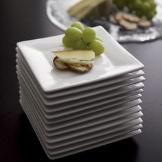 """Shop 6"""" Appetizer Plates Boxed, Set of 12. Our boxed set of square white porcelain appetizer plates delivers when unexpected guests drop in, serving an extra 12 at a moment's notice."""