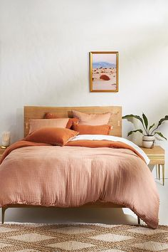 Reversible Airy Gauze Duvet Cover by Anthropologie in Brown, Bedding Peach Bedroom, Bedroom Orange, Orange Bedding, Boho Duvet Cover, Cute Duvet Covers, Unique Duvet Covers, Boho Home, Bed Throws, Bed Furniture