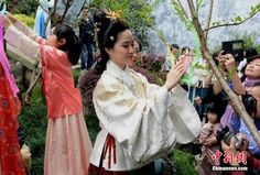 Girls dressed in Hanfu, the ancient costume of the ethnic Han people, celebrate the traditional Flower Fairy Festival at Wushan Historic Scenic Area in Fuzhou, Fujian province, March 21, 2014 http://www.chinatraveltourismnews.com/2015/03/girls-in-fuzhou-celebrate-traditional.html