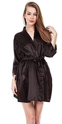 Missfashion Women's Pure Color Short Kimono Robes Satin Wedding Sleepwear (M,Black) *** Read more  at the image link.