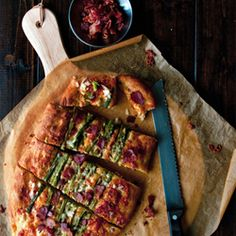 Asparagus Cheddar Focaccia: Savory bread with a bright spring ingredient.