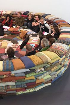 conversation pit couch wow wonderful round couch made entirely out of pillows conversation pit sectional sofa Pillow Room, Pillow Talk, Pillow Forts, Blanket Forts, Pillow Fight, Pit Couch, Pit Sectional, Youth Group Rooms, Youth Ministry