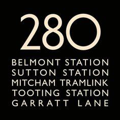 London Bus Blind Bus Route 280