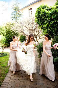 nice...a darker blush! long blush bridesmaid dress