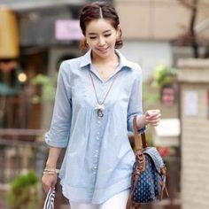 Bracelet Sleeve Slim Shirt
