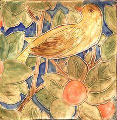 William Morris Yellow Bird Tile - traditional - kitchen tile - chicago - B.A. Schmidt Arts - Handmade Tile