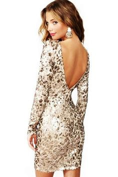 Gold Sequin Low Back Dress With Sleeves  Keep it Styled ...