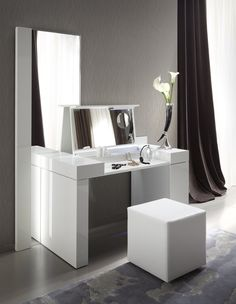 Bedroom. Modern White Wooden Make Up Table And Rectangular Mirror Also White Leather Puff Also Espresso Curtain With Girls Vanity Furniture Plus Vanity Table For Makeup. Bedroom Furniture Interior Ideas With White Makeup Table