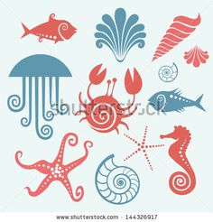 Vector set of sea fauna. Stylized original simple icons of starfish, sea horse, jellyfish, fish, crab, shell, nautilus. Abstract decorative cute illustration. Graphic design elements for print and web - stock vector