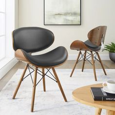 Shop Corvus Madonna Mid-Century Walnut and Black Finish Accent Chair - Overstock - 20882543