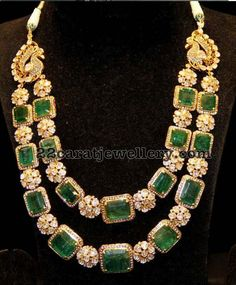 Two Layer Floral Diamond Emerald Set - Jewellery Designs